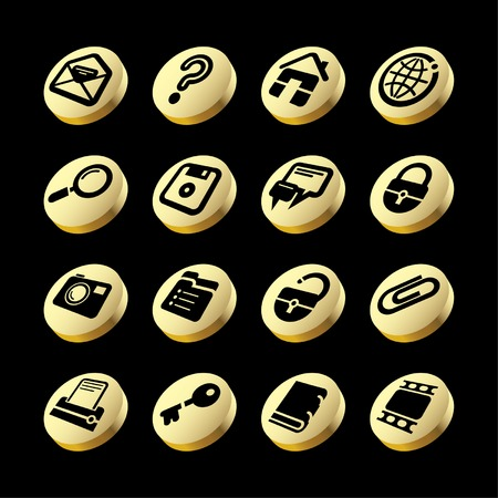 Vector gold website and internet icons Vector