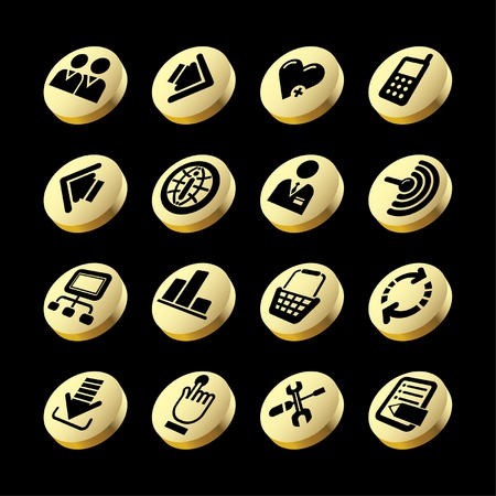 Vector gold website and internet icons Stock Vector - 4931190