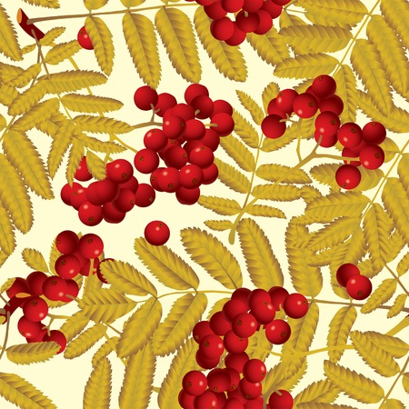 ashberry: Vector background of red rowan (seamless pattern)