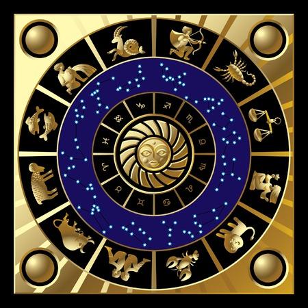 sagittarius: Vector cerchio d'oro con i segni e le costellazioni dello zodiaco Vettoriali