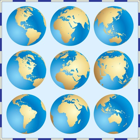 western asia: Vector Global Set Illustration