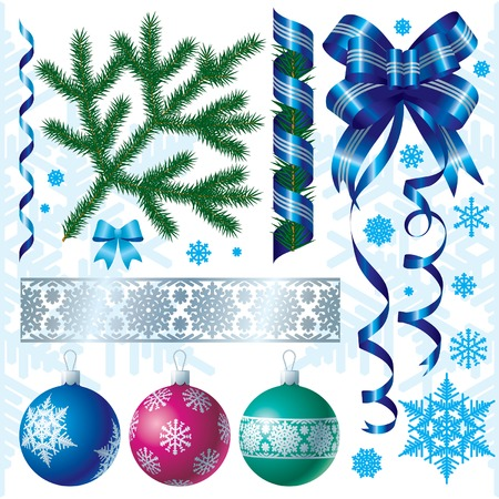 newyears: Vector set of Christmas and New-Years decorations (objects, background and border elements) Illustration