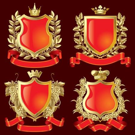 escudo de armas: Vector conjunto de s�mbolos her�ldicos oro