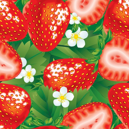 strawberry jam: Vector seamless pattern of fresh red strawberry