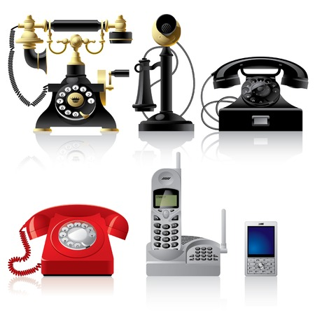 the phone rings: Vector telephone sets of different epoch Illustration