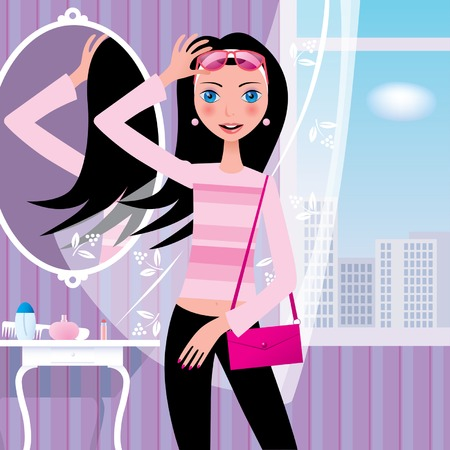 femme dressing: Vector illustration avec une fille en rose lunettes de partir en promenade Illustration