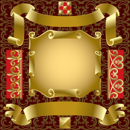 Vector set of old gold banners with border elements on a background Stock Vector - 4935429