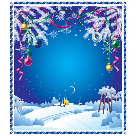 Vettore Christmas card con un paesaggio invernale e un bordo di nastro Vettoriali