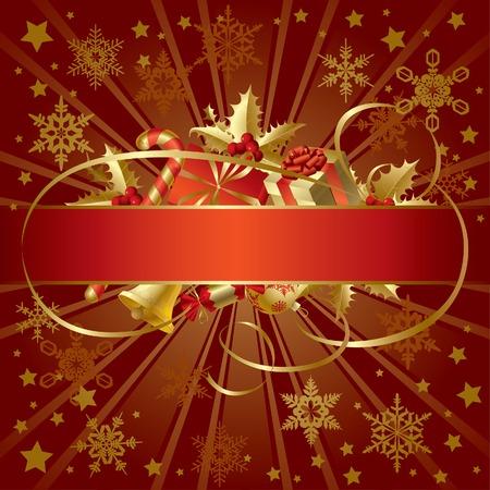 joyous: Vector de oro bandera de Navidad