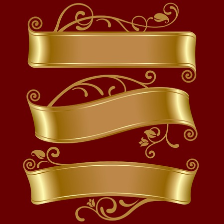 vector banners: Vector set of three gold banners