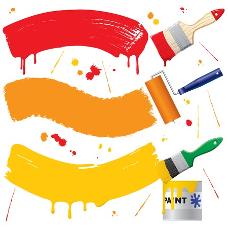 painting brush: Vector painted banners paint accessories Illustration