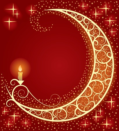 Vector Christmas New-Year's card with a moon and a light Stock Vector - 4940672