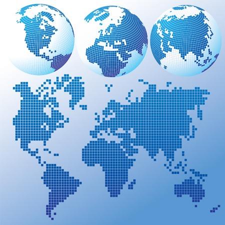 Vector blau globalen Set mit einer Karte