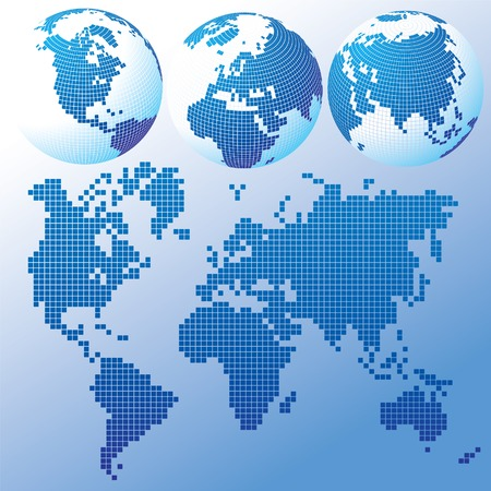 western asia: Vector blue global Set with a map