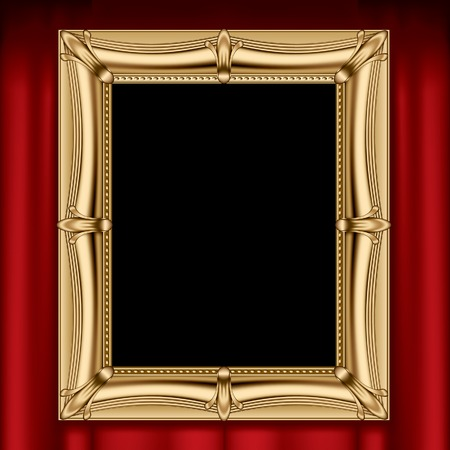 Vector gold frame on a red curtain Çizim