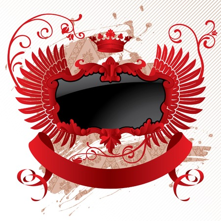 Vector classic red-black banner with wings