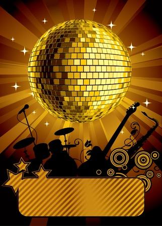 Vector gold disco ball with a banner Vector