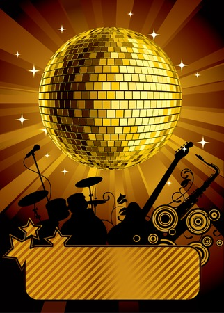 Vector gold disco ball with a banner Illustration