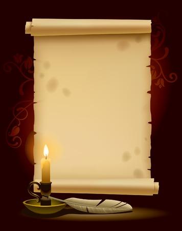 pergamino: Banner en forma de pergamino antiguo con una luz Vectores