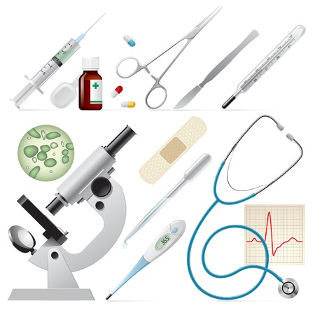 microscope isolated: Vector set of medicine Illustration