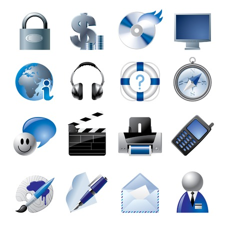 Vector blue website and internet icons 1