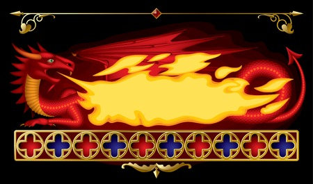 Banner in the form of red dragon Vector