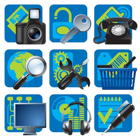 fix computer: Vector set of blue website and internet icons 1