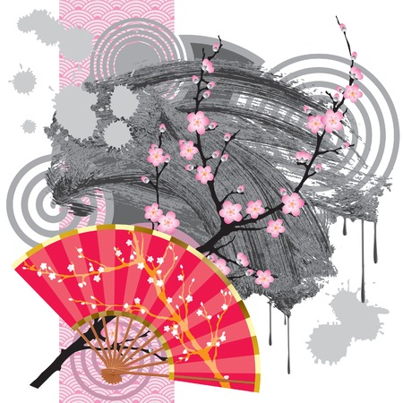 Japan fan with a branch of sakura-wood, a grey blot and a rose seamless