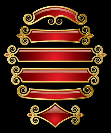 Vector set of red-gold banners Stock Vector - 4972229