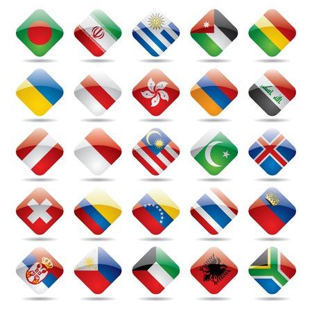 bandera de venezuela: Conjunto de vectores iconos mundo pabell�n 3 Vectores