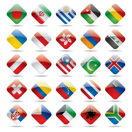 Vector set world flag icons 3 Stock Vector - 4972239