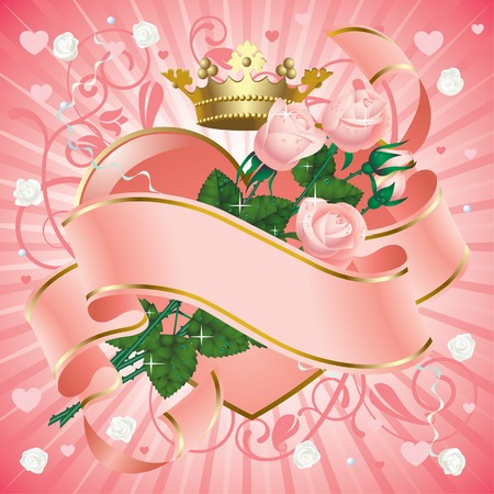 heart with crown: Vector banner with roses