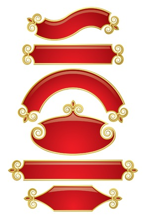 Vector set of red-gold banners 2