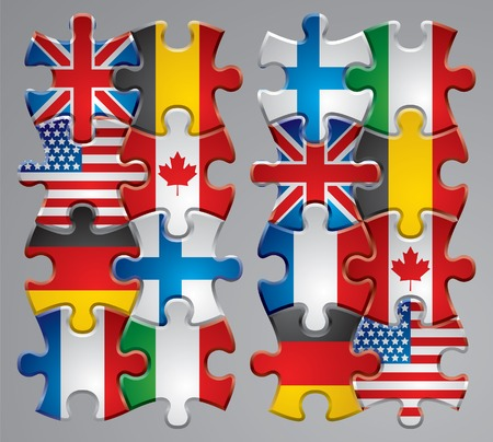 merger: Vector set of puzzle flag icons 1 Illustration