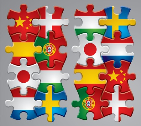 merger: Vector set of puzzle flag icons 2