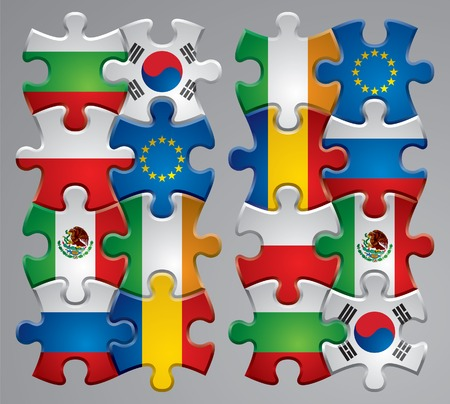merger: Vector set of puzzle flag icons 3