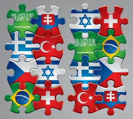 Vector set of puzzle flag icons 4 Vector