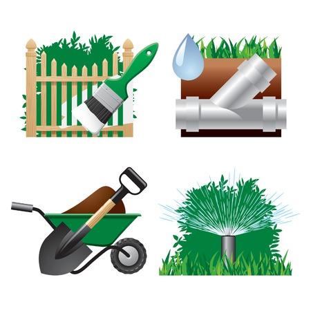 paisajismo: Iconos paisaj�sticos vector 2