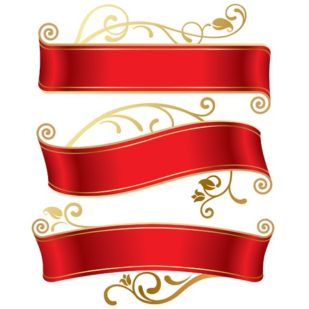 Vector set of three red banners Stock Vector - 4972231