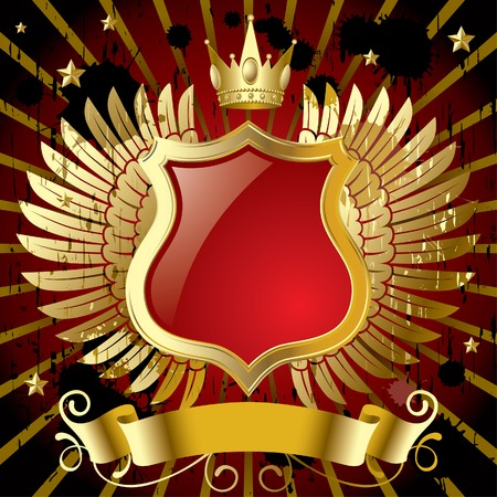 crown wings: Vector red banner with gold wings