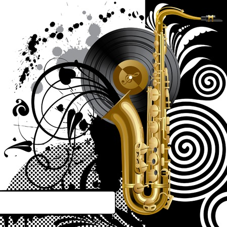 Vector black background with a saxophone