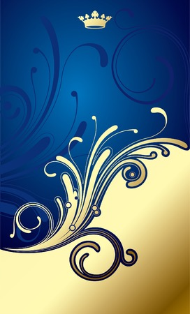Vector gold-blue classic background Illustration