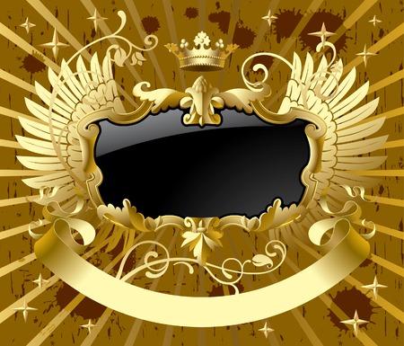 ベクトル古典的な翼とゴールド ブラック
