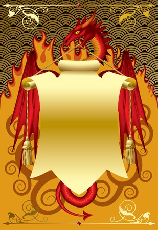 Red dragon with a gold banner. Vector illustration. Illustration
