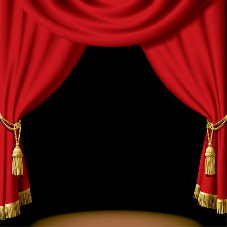 rideau sc�ne: Vector rideau rouge sur fond noir