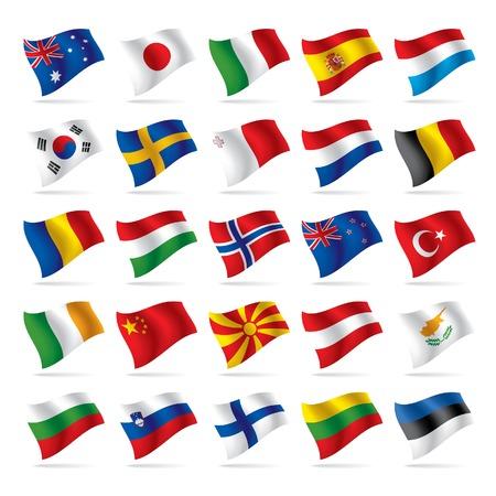 italien flagge: Vektor festgelegt, der Welt-Flags 2  Illustration