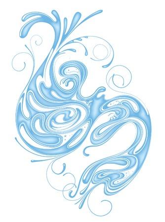 水の渦巻き状のベクトル  イラスト・ベクター素材