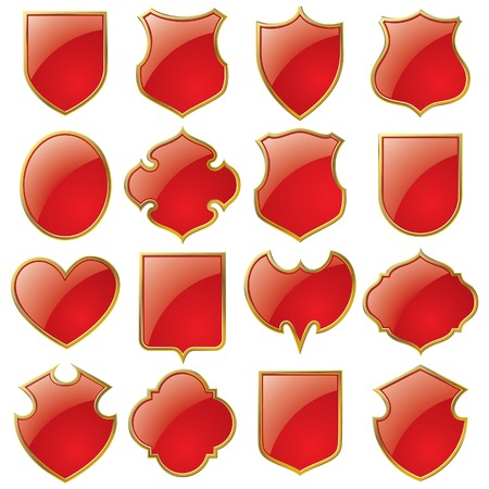 Vector set of red shields bordered with gold Illustration