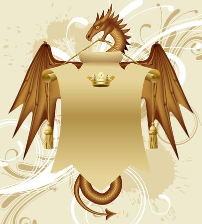Vector dragon with a banner Vector
