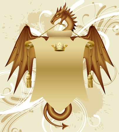 gold age: Vector dragon with a banner
